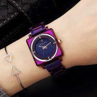 2018新款鸵鸟王手表女方形紫色钢带女表星空面时尚潮流装饰时装表