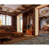 昆明雕刻定制中式风格别墅高端原木色隔断镂空板