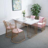 餐椅简约现代沙发卡座咖啡厅奶茶店沙发椅子铁艺餐桌椅火锅沙发椅