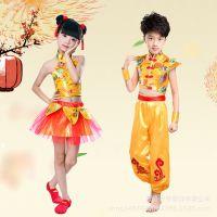 儿童演出服中国风喜庆民族表演服打鼓服女童古筝连衣裙龙锦舞蹈服
