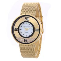 现货批发外贸速卖通热销 金色网带镶钻女表 日内瓦女士手表钢带表