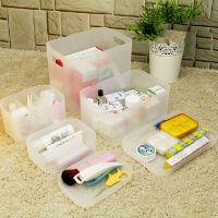 便携式桌上宿舍亚克力寝室防尘简易透明携带大化妆品收纳盒 塑料