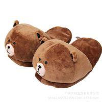 韩国人气卡通小熊公仔玩具拖鞋棕熊咖啡熊毛绒可爱棉鞋冬季保暖