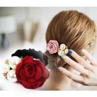 成人发圈韩国扎头发橡皮筋马尾淑女头绳玫瑰花个性珍珠头发饰品女