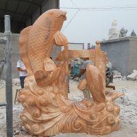 大型 石雕鱼雕刻 鱼跃龙门流水雕塑 加工定做 石雕动物价格