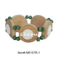 时尚创意绿色小佛珠镶白色贝壳天然原生态竹片手链