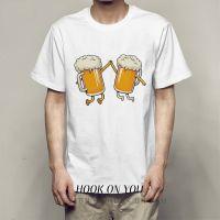 Beer 创意印花啤酒上衣Ulzzang休闲风韩版圆领Tee休闲hiphop男女T