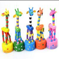 厂家直销手按长颈鹿批发木制摇摆动物长颈鹿儿童益智类玩具