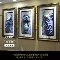 深色框6415 孔雀客厅装饰画沙发背景立体有框竖版树脂浮雕画美式三联挂画壁画