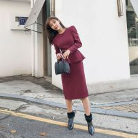 艾安琪女装批发品牌折扣店折扣 品牌女装尾单货源尾货酒红色连衣裙