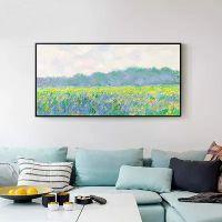 莫奈唯美风景装饰画现代客厅沙发背景墙挂画单幅卧室餐厅壁画横幅