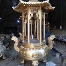 寺庙圆形香炉批发,铸铜圆形六龙柱香炉厂家,大型铜香炉定做厂家