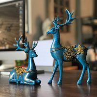正九生活中式创意品情侣麋鹿卧室小摆件树脂仿真动物家居摆件工艺饰品外贸