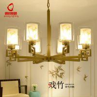 简约新中式竹子客厅灯现代大气卧室书房餐厅吊灯铁艺茶楼金色灯具