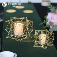 JSHCY北欧金黄色几何铁艺烛台蜡烛灯欧式家居样板间晚餐道具装饰