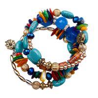 欧美仿玛瑙手链串珠 复古仿天然石多层缠绕手串外贸跨境专供