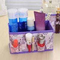 无纺布小花可折叠化妆品首饰收纳盒 桌面杂物盒文具盒储物盒