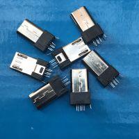 MICRO 5P 公头 夹板式 180度 黑色胶芯