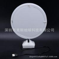 台式单面化妆镜带LED梳妆镜子方形专业美容镜子 大号LED灯镜渐变