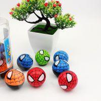 2元店热卖橡胶弹力球 蜘蛛侠卡通弹力 桶装弹力球儿童玩具热卖