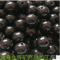 供应锗石圆珠 项链手链托玛琳珠 健康珠 佛珠15毫米大号黑圆珠