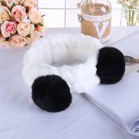 韩版网红毛球发带女士美容化妆头带熊猫耳朵法兰绒束发带厂家批发