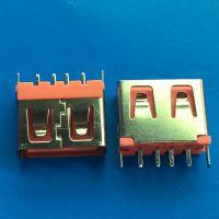 USB 2.0 10.0 母座 短体直插180度 三侧无胶 小直脚 橙色胶芯