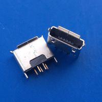 180度立式直插 /AB型Micro USB 5P母座- 立式插板1.5-2.0脚 卷边 -日宝