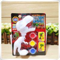 幼儿益智涂鸦3D恐龙模型儿童diy填色玩具石膏娃娃彩绘套装霸王龙