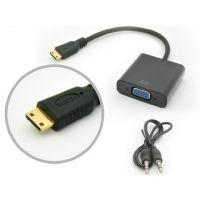厂家直销MINIHDMITOVGA音视频线转换线迷你HDMI转vga投影仪线音频