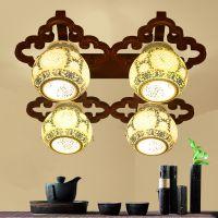 仿古中式陶瓷灯吸顶灯四头客厅灯 古典大气餐厅卧室木艺灯具灯饰