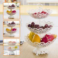 多层带底座镂空家用水果盘干果盒欧式零食盘盒客厅果篮圆