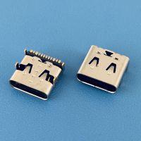 16PIN TYPE-C板上型带弹片母座/前插后贴SMT/四脚插板/加长体
