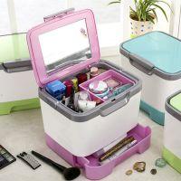 手提化妆品收纳箱 塑料药箱 桌面收纳盒有盖