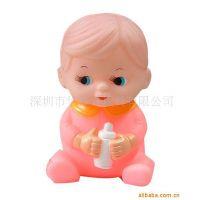 环保搪胶 仿真娃娃存钱筒 卡通塑料PVC公仔存钱储蓄罐 婴儿玩具
