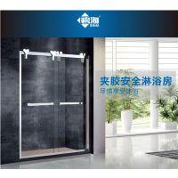 碧海定制夹胶安全淋浴房一字形双移门双钢化玻璃屏风