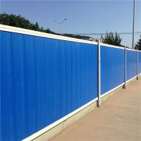 蓝色彩钢围挡 市政施工围墙护栏 铁马护栏厂家