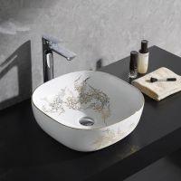 陶瓷台上盆椭圆中式无孔彩金卫浴洗手盆洗脸盆