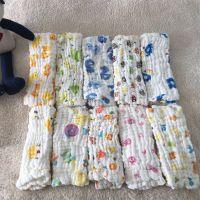 六层水洗纱布童巾 婴儿泡泡纱布口水巾 宝宝起泡纱布毛巾30*50