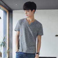 夏装竹节棉V领短袖t恤 男士鸡心领修身半袖体恤纯色打底衫潮男装