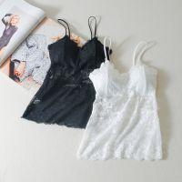 白色吊带背心长款蕾丝带胸垫抹胸打底内衣女可外穿美背裹胸防走光