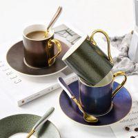 璀璨星空ins咖啡杯碟 北欧骨瓷金边咖啡杯碟勺英式下午花茶红茶杯