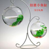 小鱼缸透明玻璃圆形创意家居办公桌客厅招财小型花瓶简约迷你桌面