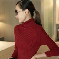 2018 韩版女士坑条修身圆领长袖针织打底衫毛衣批发
