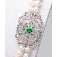 diy珍珠配件 镀白金镶锆石花形配件 毛衣链配饰 流苏长项链配饰