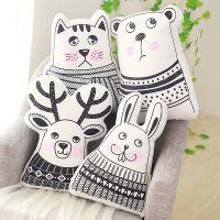 ins北欧风儿童房装饰毛绒玩具简约风兔子熊麋鹿玩具动物系列抱枕