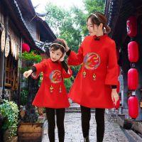 新款网店代理女童旗袍中国风童装 一件待发长袖亲子装秋冬母女装