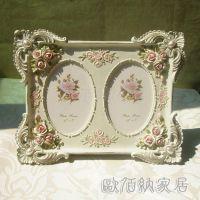 5吋双框玫瑰花田园浅黄树脂工艺品欧式相框相架创意批发影楼正品