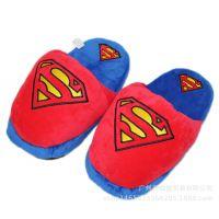 新品 爆款DC漫画人物蝙蝠侠蜘蛛侠超人毛绒拖鞋公仔玩具保暖棉拖