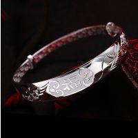 铜镀银龙凤福字银手镯 女款手镯送妈妈老人礼物推拉镯子大方时尚